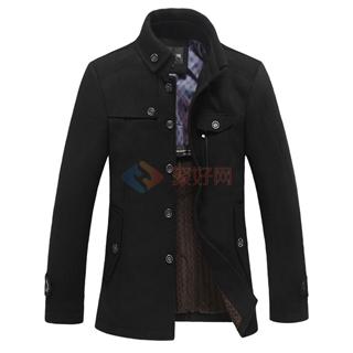 厂家直供新款男风衣毛呢男大衣男装外套 商务男中长款风衣