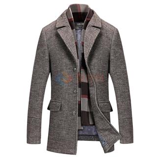 50%羊毛中年外套 2017秋季新款中长款羊毛呢男士外套带围巾