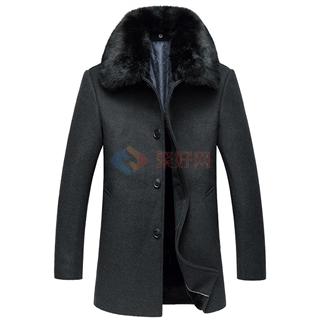 带毛领加绒夹棉厚款毛呢大衣男士加厚棉衣