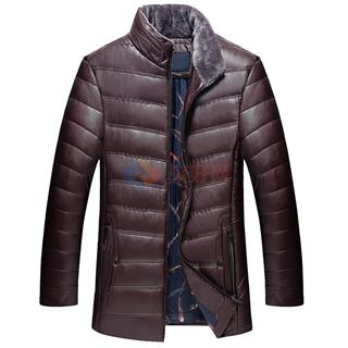 2017秋冬新款中青年男士修身立领皮棉衣皮外套