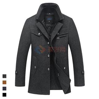 东北三省可过冬 男士加厚商务外套 假两件毛呢大衣
