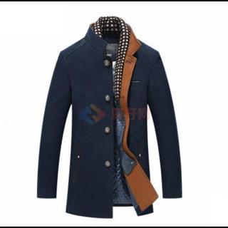 男士呢子大衣 青年中长款加厚双领休闲羊绒毛呢大衣风衣
