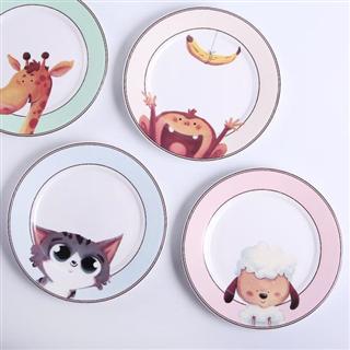 卡通陶瓷创意西餐盘4个组合 家用菜碟水果盘儿