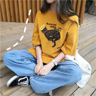 新款韩版原宿风ulzzang印花时尚休闲宽松短袖