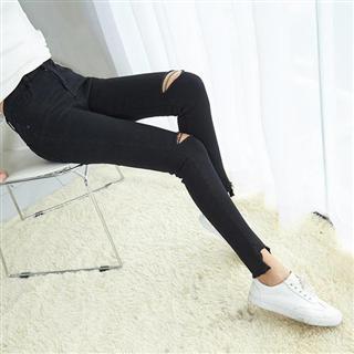 女装新款打底裤春季弹力破洞韩版不规则小脚裤