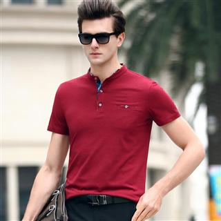 2019夏季新款短袖T恤中青年男士立领纯色时尚商务丝光棉男装