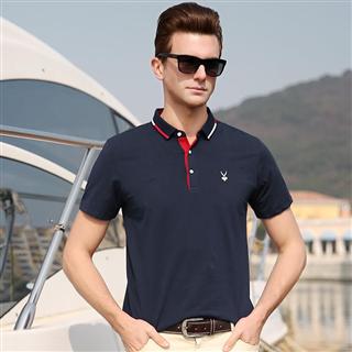 2019男士短袖时尚商务休闲纯色T恤衫POLO衫男士合体绣标