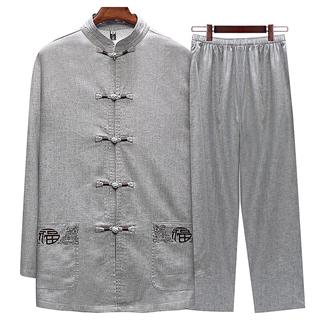 2019中国风亚麻舒适面料新款男士长袖唐装中老年男装套装中山装爸爸装