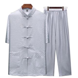 138包邮套装中老年唐装男士短袖中国风爸爸装夏棉麻套装