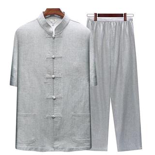 中老年唐装男士亚麻套装爸爸装夏装短袖中国风中式大码棉麻衬衫男
