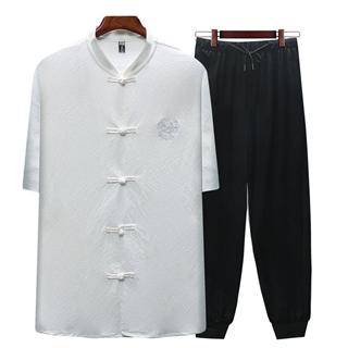 中国风夏装冰丝棉麻中老年短袖男士唐装套装棉麻爸爸装父亲夏季衬衫