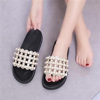 珍珠凉拖博眼球时尚万人迷性感平跟女鞋