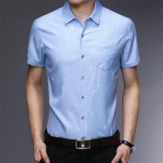 2019夏季新款短袖衬衣男纯色免烫男士衬衫商务休闲简约寸衫