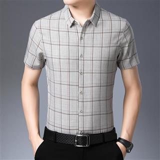 2019春夏新款格子短袖衬衫男士韩版修身衬衣中青年潮流寸衫打底