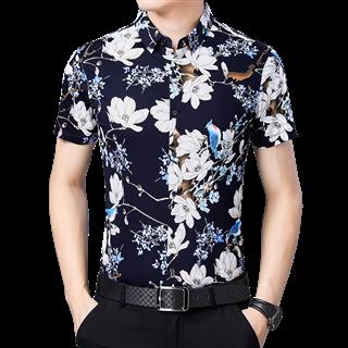 夏季男中年短袖衬衫纯棉薄款休闲免烫丝光棉中年男花衬衣爸爸装
