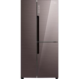 【限时特惠】美的(Midea)408升 双变频T型对开三门冰箱 玻璃面板 铂金净味 雷达感温 摩卡棕 BCD-408WKGPZM(E)