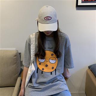 夏季新款韩版网红卡通表情包女式宽松大码T恤短袖休闲上衣