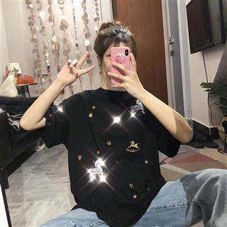 夏季韩版新款刺绣亮片短袖T恤