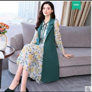 小香风套装裙子女2019春装新款韩版洋气时尚气质雪纺连衣裙两件套