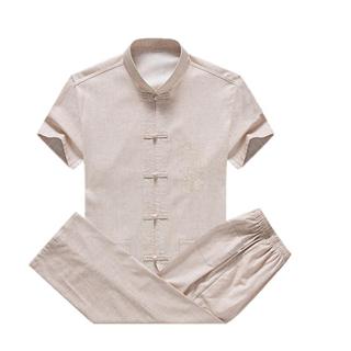 中老年人短袖唐装套装中年男爸爸装夏装棉麻舒适夏季衣服中国风