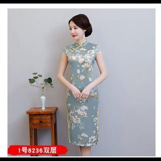 179包邮祺袍女素雅中长款丝质旗袍裙修身优雅中款淡雅中国风女士琪袍