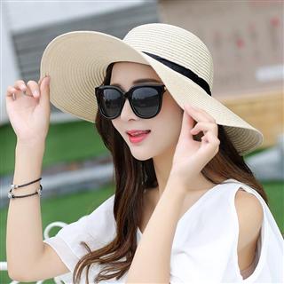 夏天韩版潮可折叠沙滩帽太阳帽防晒大沿帽