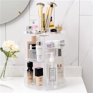 桌面梳妆台波浪板化妆品收纳盒大号置物架透明色