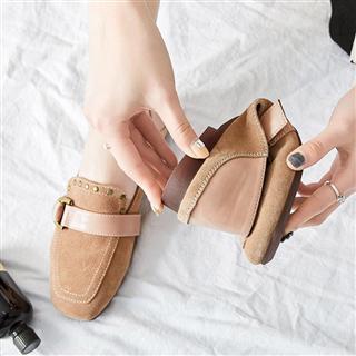 防滑豆豆鞋女真皮春季新款低跟牛筋软底单鞋女