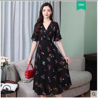 夏天裙子2019流行女装新款短袖雪纺连衣裙夏中长款时尚气质碎花裙