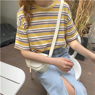 彩色条纹宽松套头衫夏季慵懒百搭短袖T恤打底衫