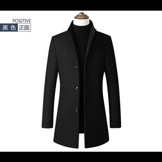 198包邮40%羊毛春季新款男士立领纯色时尚修身风衣外套厂家货源