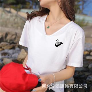 夏季新品原宿风女装T恤打底衫韩版宽松V领纯色印花短袖闺蜜装