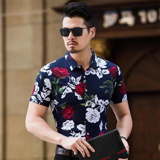 59包邮时尚休闲寸衣夏季炫彩色男士个性短袖衬衫大码花色衬衣潮