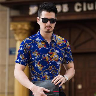 夏季新款男士短袖衬衫时尚修身青年韩版中国风花衬衣休闲碎花寸衫潮