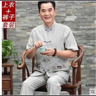 中国风中老年唐装亚麻面料短袖男士套装夏季立领中式盘扣舒适大码爸爸装