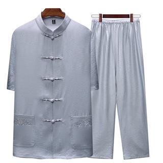 138包邮夏季中年男士短袖立领盘扣唐装套装中老年人棉麻爸爸装薄款短袖