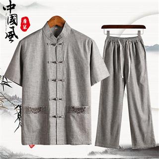 夏季短袖唐装套装中年男士棉麻套装爸爸中老年亚麻套装男
