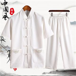 2019春夏款唐装男中国风亚麻短袖套装中年男士爸爸夏装中山装棉