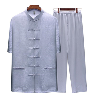 唐装男中老年人短袖套装中国风男装中式汉服爸爸夏装衣服