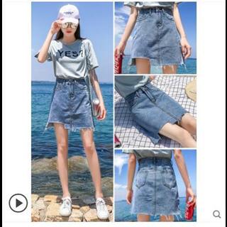 89包邮牛仔裙不规则半身裙女夏季2019新款高腰短裙a字裙子