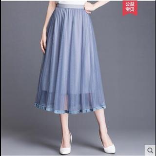 2019新款网纱半身裙很仙的裙子百褶裙仙女裙中长款黑色纱裙