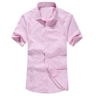 韩版修身商务职业工装男士纯色百搭短袖衬衫 衬衣寸衫上衣男