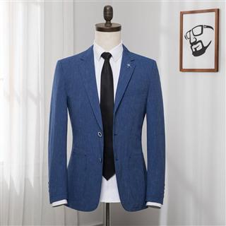2019春款男装英伦休闲西装上衣 商务绅士修身棉麻西服外套 剪标