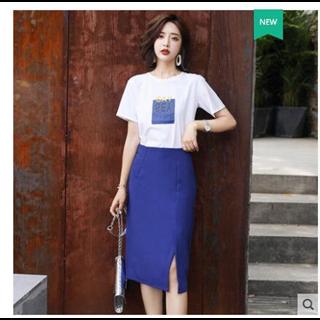 188包邮两件套连衣裙女中长款2019夏季新款韩版气质修身显瘦时尚套装裙子