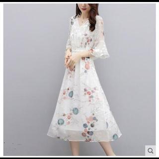 时尚碎花雪纺连衣裙女2019夏款新款气质显瘦长款过膝长裙子