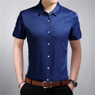 【特惠69元/2件包邮】夏季新款男士商务时尚修身纯色 男款短袖衬衫6色可选(颜色备注)