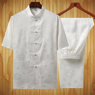 中老年男士夏季短袖唐装外套中式薄款爸爸装中国风套装大码