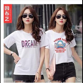 2件69元纯棉短袖t恤女夏装2019新款韩版宽松半袖上衣体恤衫