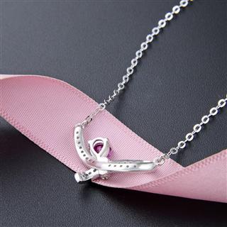 时尚项链s925纯银清新可爱蝴蝶结满钻吊坠项链套链