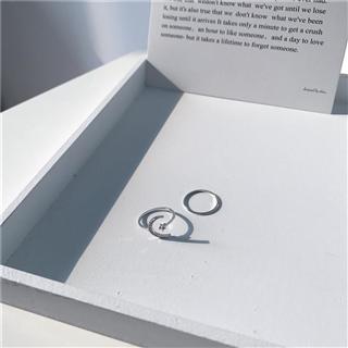 跨境星月锆石微镶镀白金开口戒指简约饰品可调节指环女